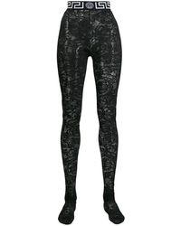 Versace Panty Met Barokprint - Zwart