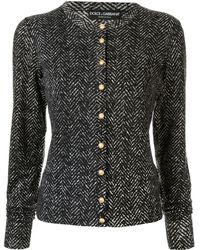 Dolce & Gabbana Fitted Chevron Cardigan - Black
