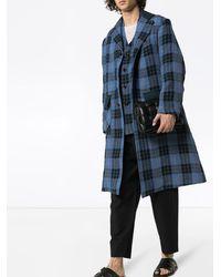 Nicholas Daley チェック シングルコート - ブルー