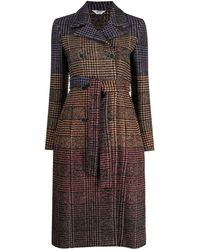 Liu Jo Checked Double Breasted Coat - Brown