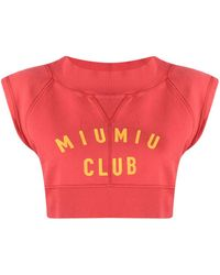 Miu Miu Club Cropped Sleeveless Sweatshirt - Red