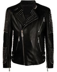 Philipp Plein Байкерская Куртка На Молнии С Заклепками - Черный