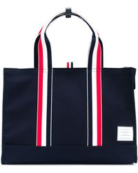 Thom Browne East-west Rwb Handle Canvas Tote Bag - ブルー