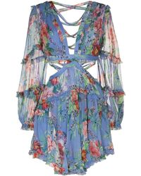 Zimmermann Bellitude Cutout Floral-print Dress - ブルー