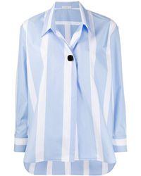 Sandro Oversized Striped Print Shirt - Blue