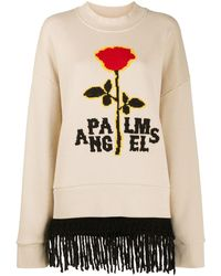 Palm Angels - Red Rose Fringed Crew Beige Red - Lyst