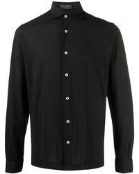 Dell'Oglio ポインテッドカラー シャツ - ブラック