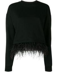 10 Crosby Derek Lam Feather Trim Sweatshirt - Black
