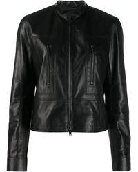 Valentino Lederjacke mit Reißverschluss - Schwarz