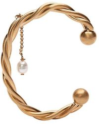 JW Anderson Gold Twisted Pearl Bangle - Metallic