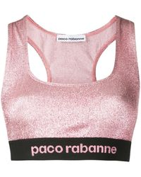 Paco Rabanne ロゴ スポーツブラ - ピンク