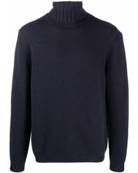 Allude Roll-neck Cashmere Jumper - Blue