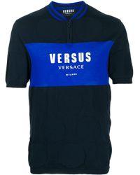 Versus Logo Print Polo Shirt - Blue