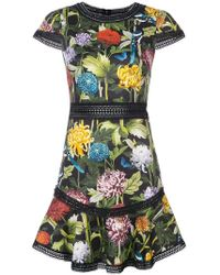 Alice + Olivia - Floral Print Shortsleeved Dress - Lyst