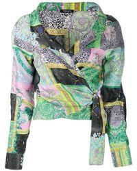 Versace Printed cropped shirt - Grün