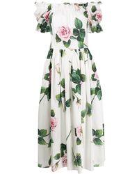 Dolce & Gabbana - ローズプリント ドレス - Lyst