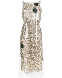 CALVIN KLEIN 205W39NYC Floral Print Midi Dress With Transparent Overlayer - Natural