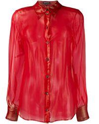 Ann Demeulemeester Полупрозрачная Рубашка - Красный