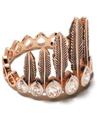 Kismet by Milka 14kt Rose Gold Diamond Feathered Headdress Ring - Metallic
