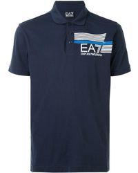 EA7 Polo con logo - Blu