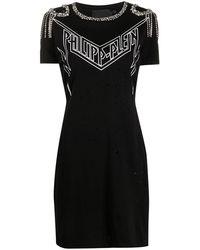 Philipp Plein Декорированное Платье-футболка - Черный