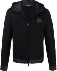 Emporio Armani Textured Hooded Jacket - Black