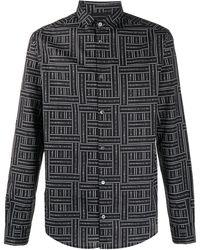 Emporio Armani Chemise à motif monogrammé - Noir