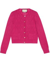 Gucci GG Perforated Wool Cardigan - Pink