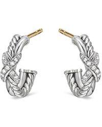 David Yurman Petits anneaux à ornements en diamants - Métallisé