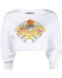 Versace Jeans Couture Укороченная Толстовка С Логотипом - Белый