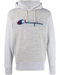 Champion ロゴ ニットパーカー - グレー