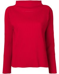 Issey Miyake Cauliflower Soft Pleated Long Sleeve Top - Red
