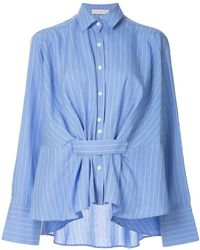 Palmer//Harding - Pinstripe Belted Shirt - Lyst