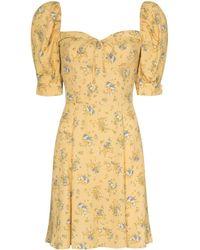 Reformation Lillet Floral-print Minidress - Yellow