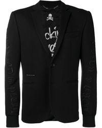 Philipp Plein Jersey Formal Blazer - Black