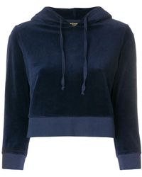 Juicy Couture Cropped-Kapuzenpullover in Samtoptik - Blau