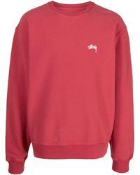 Stussy Logo Crew-neck Sweatshirt - Red