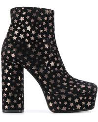 P.A.R.O.S.H. Star Print Platform Sandals - Black
