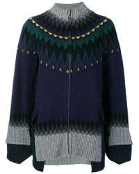 Sacai - Turtleneck Suiting Insert Zip Cardigan - Lyst