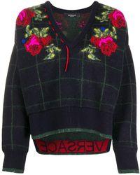 Versace Джемпер Вязки Интарсия С V-образным Вырезом - Черный