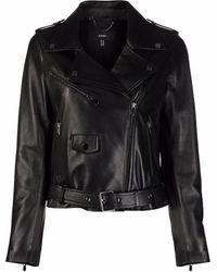 Arma Belted Leather Biker Jacket - Black