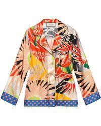 Gucci Tropical Bird Silk Pajama Shirt - Orange