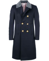 Thom Browne Fur Top Pintuck Cavalry Twill Chesterfield Overcoat