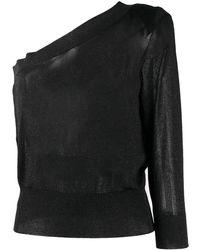 FEDERICA TOSI One Shoulder Speckle Jumper - Black