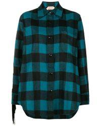 N°21 - Fringed Check Shirt - Lyst