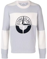 Stone Island - Embroidered Logo Striped Jumper - Lyst