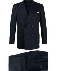 Kiton Doppelreihiger Anzug mit Nadelstreifen - Blau