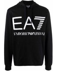 EA7 ロゴ パーカー - ブラック