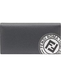 Fendi Logo patch continental wallet - Grigio