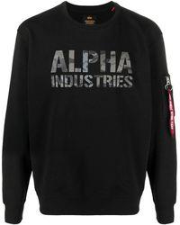 Alpha Industries ロゴ スウェットシャツ - ブラック